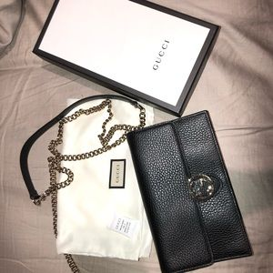 Gucci black pebbled leather crossbody bag